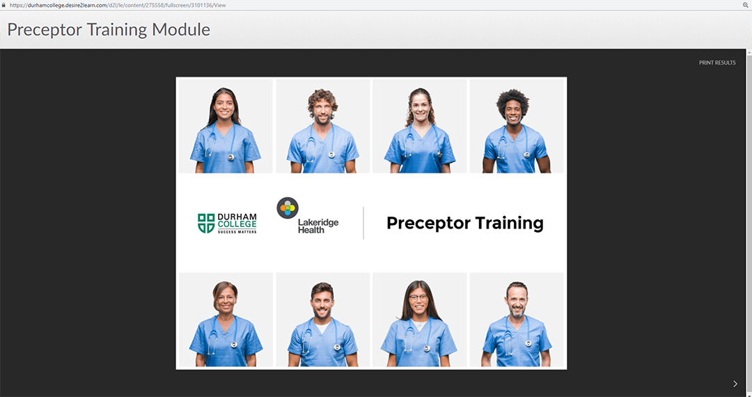 8 nurses all in separate cells. text on image saying Preceptor Training with durham college logo and lakeridge health logo