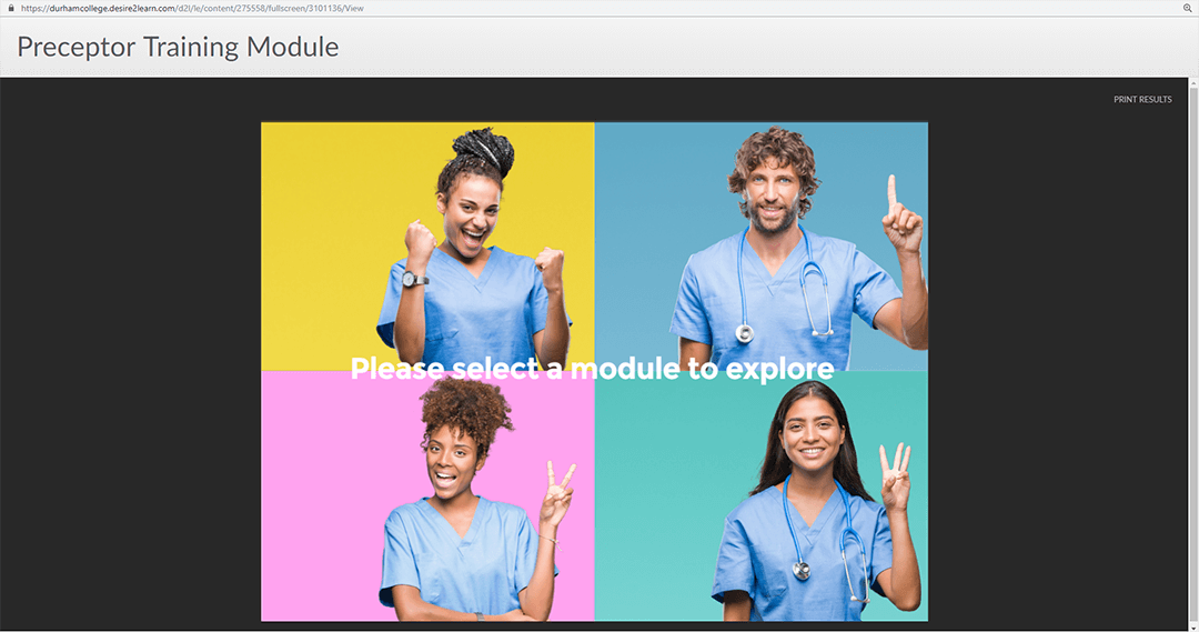 four nurses with text on top saying Please select a module to explore